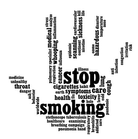 停止吸煙信息的文字圖形和安排手形符號概念