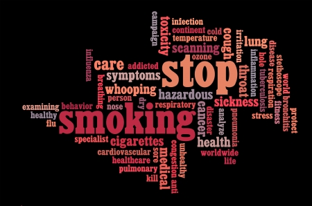 Stop Smoking info-text graphics and arrangement symbol concept on black background photo