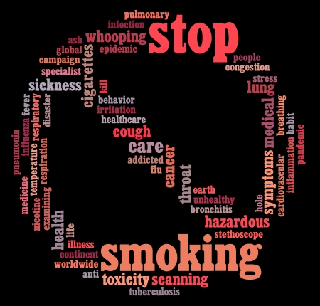 quitting: Stop Smoking info-text graphics and arrangement symbol concept