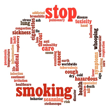 Stop Smoking info-text graphics and arrangement symbol concept on white background photo