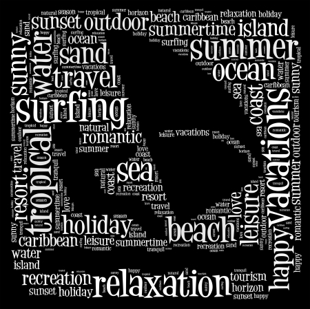 travel collage: Surfing summer info-text graphics and arrangement with surfing concept