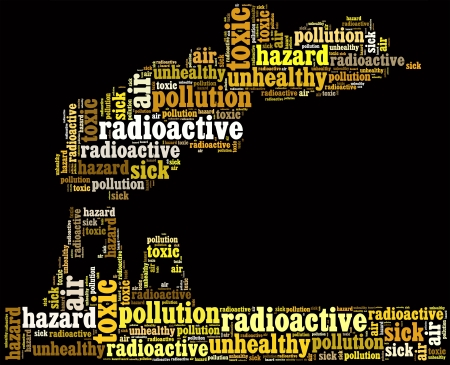 textcloud: Air pollution info-text graphics and arrangement with factory shape concept Stock Photo