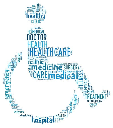 Medical info-text graphics and arrangement with wheelchair shape concept Stock Photo - 15874925