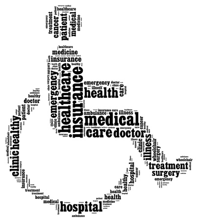 Medical info-text graphics and arrangement with wheelchair shape concept Stock Photo - 15874903