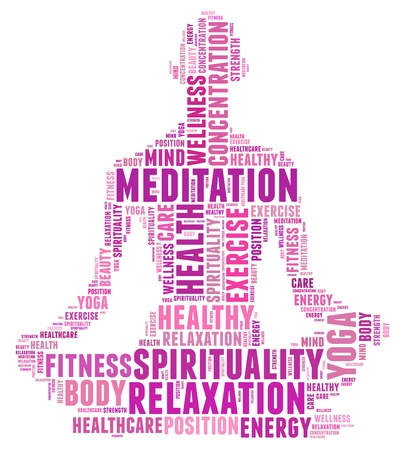 women yoga: Yoga and health info text cloud collage with shape of a girl doing yoga meditation pose  Stock Photo