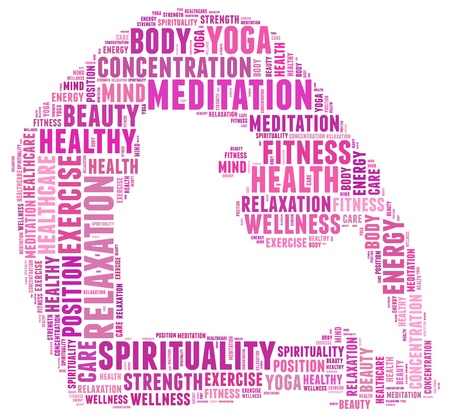 'peace of mind': Yoga and health info text cloud collage with shape of a girl doing yoga meditation pose  Stock Photo