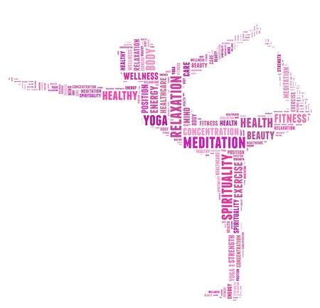 瑜伽和健康信息文本雲拼貼與一個女孩做造型瑜伽冥想姿勢 版權商用圖片