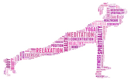 spiritual woman: Yoga and health info text cloud collage with shape of a girl doing yoga meditation pose  Stock Photo