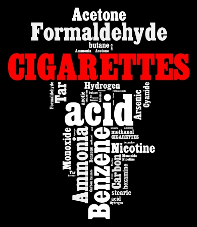 smoking stop: Hazardous chemicals in cigarettes info text graphics and arrangement