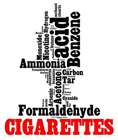 담배의 정보 텍스트 그래픽과 배열에서 유해 화학 물질