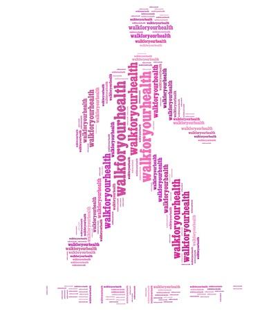 textcloud: Walk for health info text graphics and arrangement