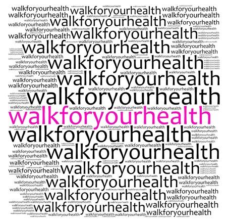 Caminar para gráficos de salud texto informativo y la disposición Foto de archivo
