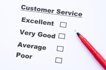 Customer service survey form and pen Stock Photo - 16674476