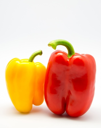 habanero: Red and yellow chilli peppers on isolated white