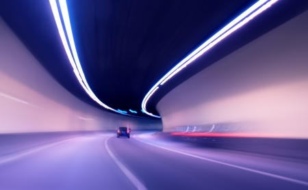tunnel view: Car moving in tunnel -Abstract View