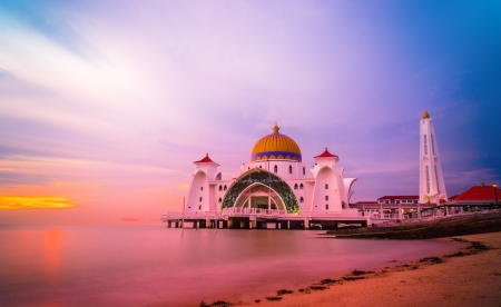 straits: Straits Mosque during sunset at Malacca, Malaysia, Asia