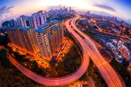 Fisheye Lens view of Kuala Lumpur City skyline during sunset at Malaysia, Asia
