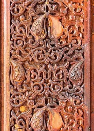 motif pattern: Wood carving of flower motif pattern Stock Photo
