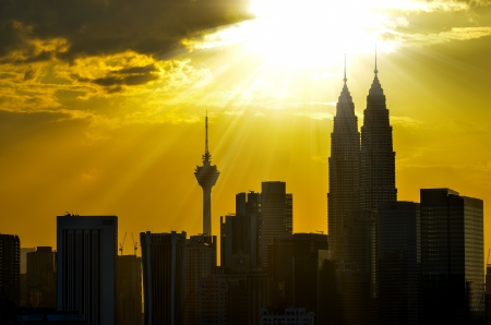 Dramatic scenery sunset of the city center at Kuala Lumpur, Malaysia, Asia photo