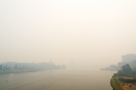 View of Putra Mosque during haze at Putrajaya,Malaysia  The Air Pollution Index  API  on Mac 23,2013 is 150   photo