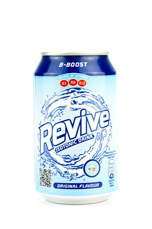 revive: PUTRAJAYA, MALAYSIA - MAC 25, 2016. Revive isotonic bottle Isolated On White. Revive isotonic drink is popular for athletes.