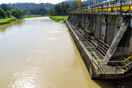 safe water: The water intake at river for treatment raw water at Selangor, Malaysia