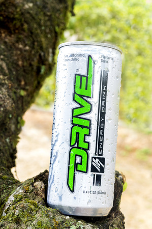 drink and drive: PAHANG, MALAYSIA - APRIL 3, 2016. Drive M7 Energy Drink close up. Drive M7 Energy Drink are produced and manufactured by DRIVE M7 SDN BHD at Johor Bahru, Malaysia Editorial