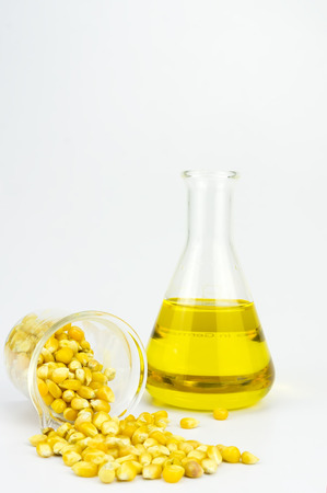 Corn generated ethanol bio-fuel with test tubes on white background-Agriculture concept Stock Photo
