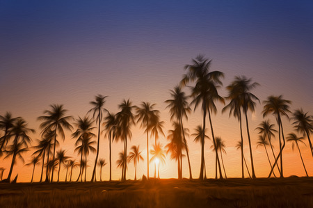 resemble: Dramatic stunning morning light sunset and Silhouetted of coconut tree. This photo has been given a Photoshop effect to make it resemble an oil painting.