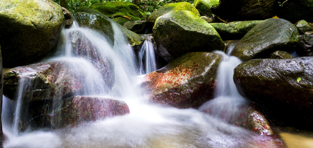 creek: Landscape photo of beautiful waterfall in rainforest during sunrise at Selangor, Malaysia