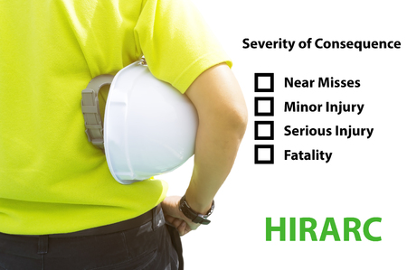 severity: Hazard Identification and Risk Assessment concept (Safety work place) - Engineering man or Safety Inspector standing with severity of consequence checklist.