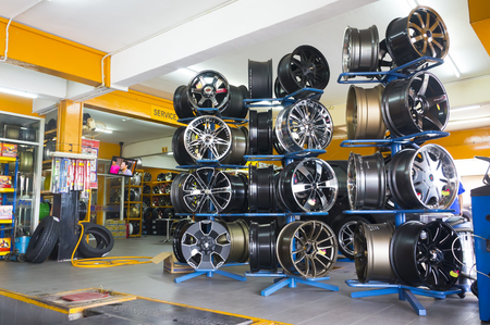 JOHOR, MALAYSIA - DECEMBER 8, 2016 : Various color and design alloy wheels for tyre