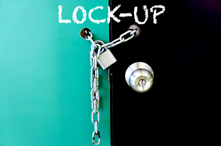 lockup: Padlock and chain locked - Security concept Stock Photo