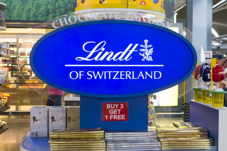 lindt: SEPANG,MALAYSIA - JANUARY 14,2017: Display of Swiss Lindt chocolate at Kuala Lumpur International Airport. Lindt is recognized as a leader in the market for premium quality chocolate.