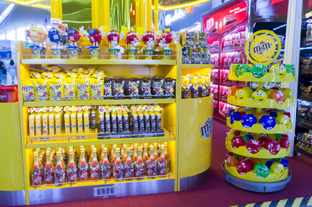 chocolate treats: SEPANG,MALAYSIA-JANUARY 14, 2017 :M&Ms Chocolate candies and toy at Kuala Lumpur International Airport . M&Ms have been one of the most famous candy treats in the world since 1941.