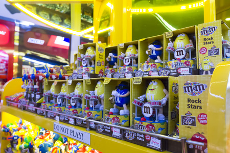 mms: SEPANG,MALAYSIA-JANUARY 14, 2017 :M&Ms Chocolate candies and toy at Kuala Lumpur International Airport . M&Ms have been one of the most famous candy treats in the world since 1941.