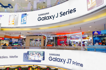 logo samsung: KUALA LUMPUR, MALAYSIA - JAN 15, 2017 : Interior view of Low Yat Plaza Kuala Lumpur, Malaysia. Low Yat Plaza is a modern hi-tech shopping mall specializing in electronic products