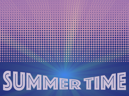 light ray: Summer time background with text. Halftone pattern background texture. Dotted background Texture. Concept background for summer, spring or other your content.