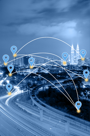 Blue tone Kuala Lumpur cityscape searching location and navigation concept.