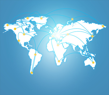 World connection concept. Illustration of world map point, line, composition, representing the global, Global network connection.