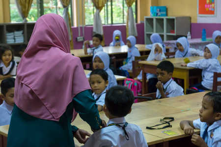 PUTRAJAYA, MALAYSIA - Jan 2, 2018 : Malaysian primary school student attending first day school session 2018 at Putrajaya.
