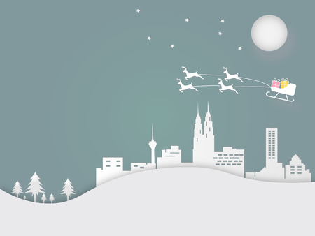 Merry Christmas and Happy New Year. Illustration of reindeer on the sky at town. Paper art and craft style.
