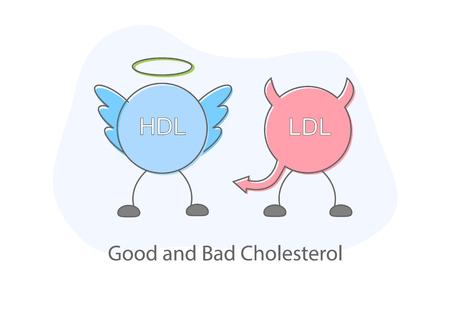 Good and bad cholesterol flat design Illustration vector. Illustration