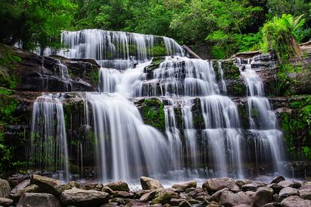 The Liffey Falls, a series of four distinct tiered–cascade waterfalls on the Liffey River, is located in the Midlands region of Tasmania, Australia. Foto de archivo