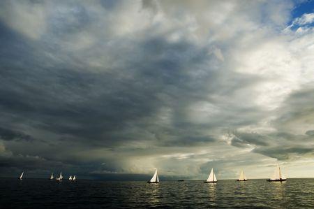Boat race in open sea Stock Photo - 1789028