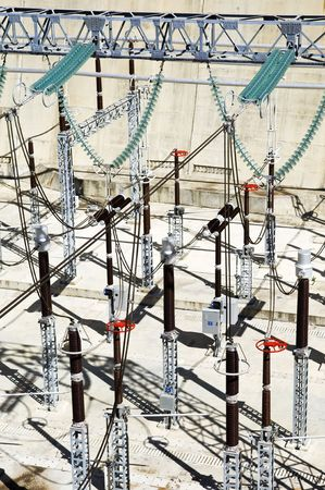 High tension wiring in a hydroelectric power plant Standard-Bild