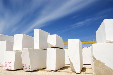 aligned: Marble blocks aligned in factory yard, Alentejo, Portugal