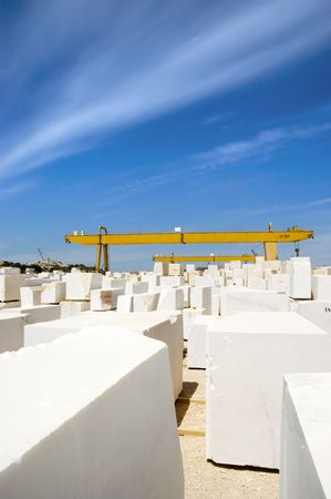 alentejo: Marble blocks aligned in factory yard, Alentejo, Portugal