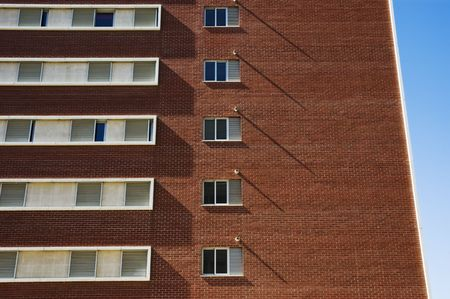 Apartment block with brick cladding  photo