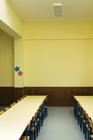 schoolroom: Schoolroom interior with chairs and tables